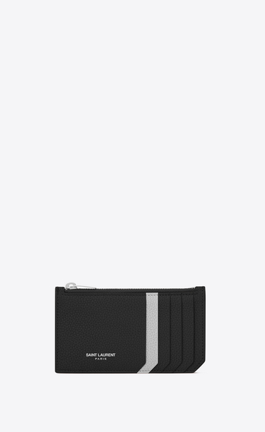 SAINT LAURENT Saint Laurent Paris SLG Woman fragments zippered pouch in black and white grained leather a_V4