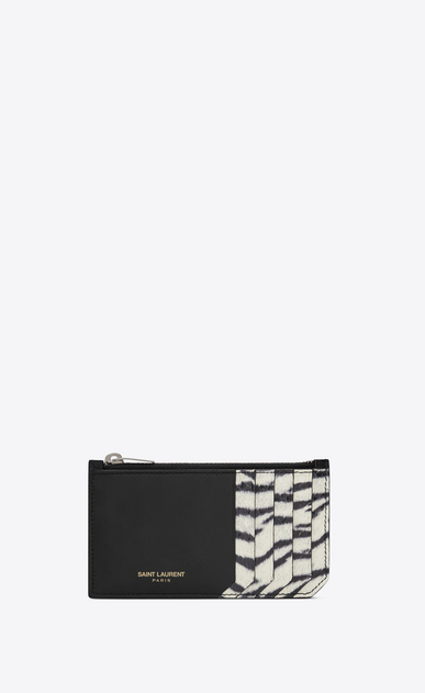 SAINT LAURENT Saint Laurent Paris SLG E fragments zippered pouch in black leather and black and white tiger print elaphe a_V4