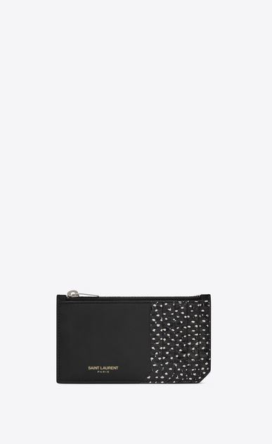 SAINT LAURENT Saint Laurent Paris SLG E fragments zippered pouch in black leather and black elaphe with white polka dots a_V4
