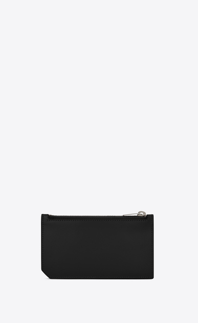 SAINT LAURENT Saint Laurent Paris SLG E fragments zippered pouch in black leather and black elaphe with white polka dots b_V4