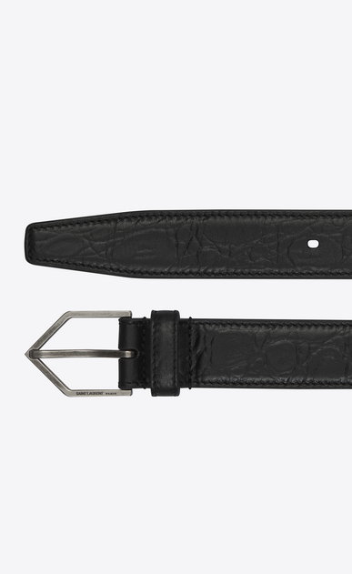 SAINT LAURENT Skinny Belts Woman TRIANGLE buckle belt in black crocodile print leather b_V4