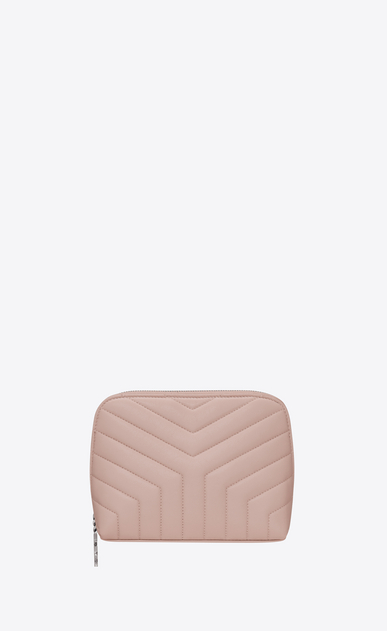 "SAINT LAURENT Loulou SLG Woman loulou makeup bag in shiny washed pink leather with ""y"" quilting a_V4"