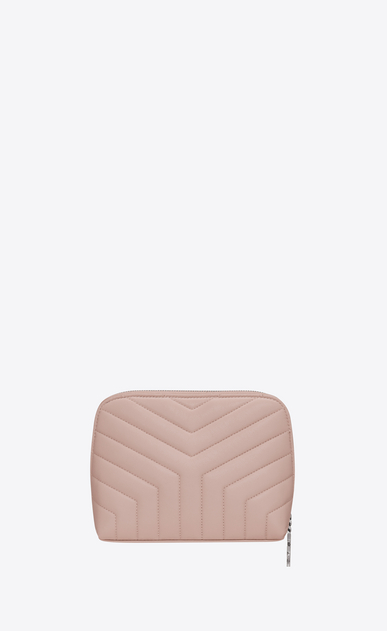 "SAINT LAURENT Loulou SLG Woman loulou makeup bag in shiny washed pink leather with ""y"" quilting b_V4"