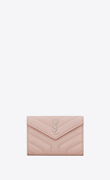 "SAINT LAURENT Loulou SLG Woman small loulou envelope wallet in shiny washed pink ""y"" quilted leather a_V4"