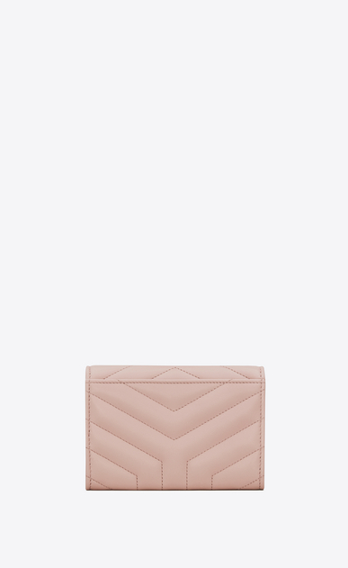 "SAINT LAURENT Loulou SLG Woman small loulou envelope wallet in shiny washed pink ""y"" quilted leather b_V4"
