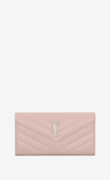 "SAINT LAURENT Loulou SLG Woman Large LOULOU wallet with a flap in shiny washed pink leather with ""Y"" quilting a_V4"