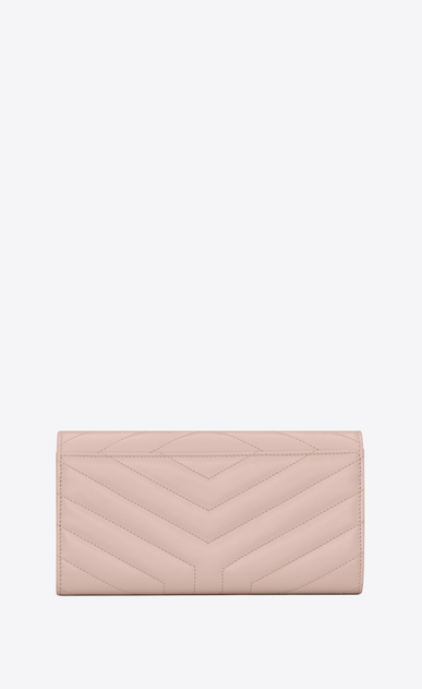 "SAINT LAURENT Loulou SLG Woman Large LOULOU wallet with a flap in shiny washed pink leather with ""Y"" quilting b_V4"