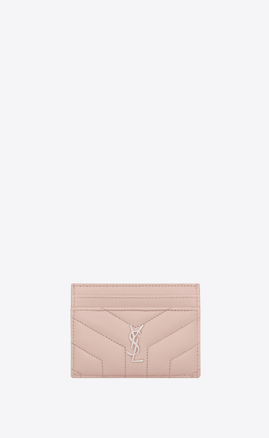"SAINT LAURENT Loulou SLG Woman loulou credit card case in shiny washed pink leather with ""y"" quilting a_V4"
