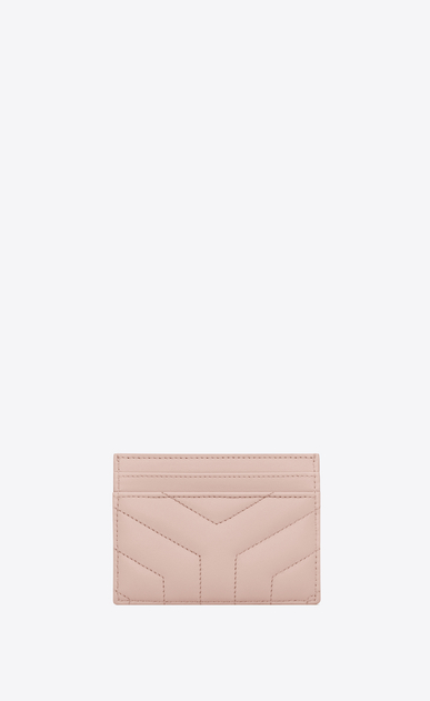 "SAINT LAURENT Loulou SLG Woman loulou credit card case in shiny washed pink leather with ""y"" quilting b_V4"