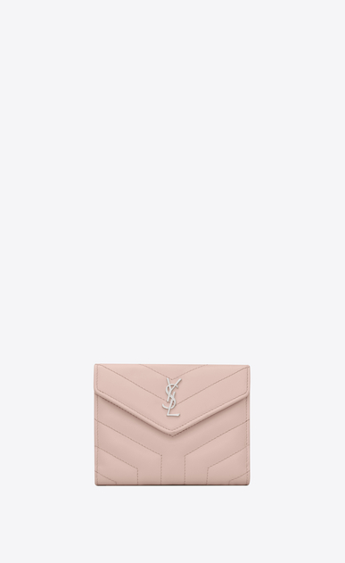 "SAINT LAURENT Loulou SLG Woman LOULOU compact wallet in shiny washed pink leather with ""Y"" quilting a_V4"