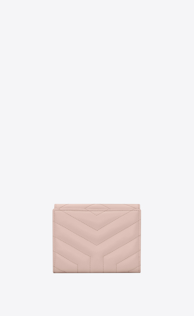 "SAINT LAURENT Loulou SLG Woman LOULOU compact wallet in shiny washed pink leather with ""Y"" quilting b_V4"