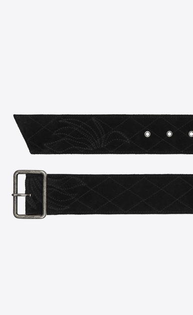 SAINT LAURENT Medium Belt Woman Belt with PORTHOLE buckle in quilted black suede b_V4