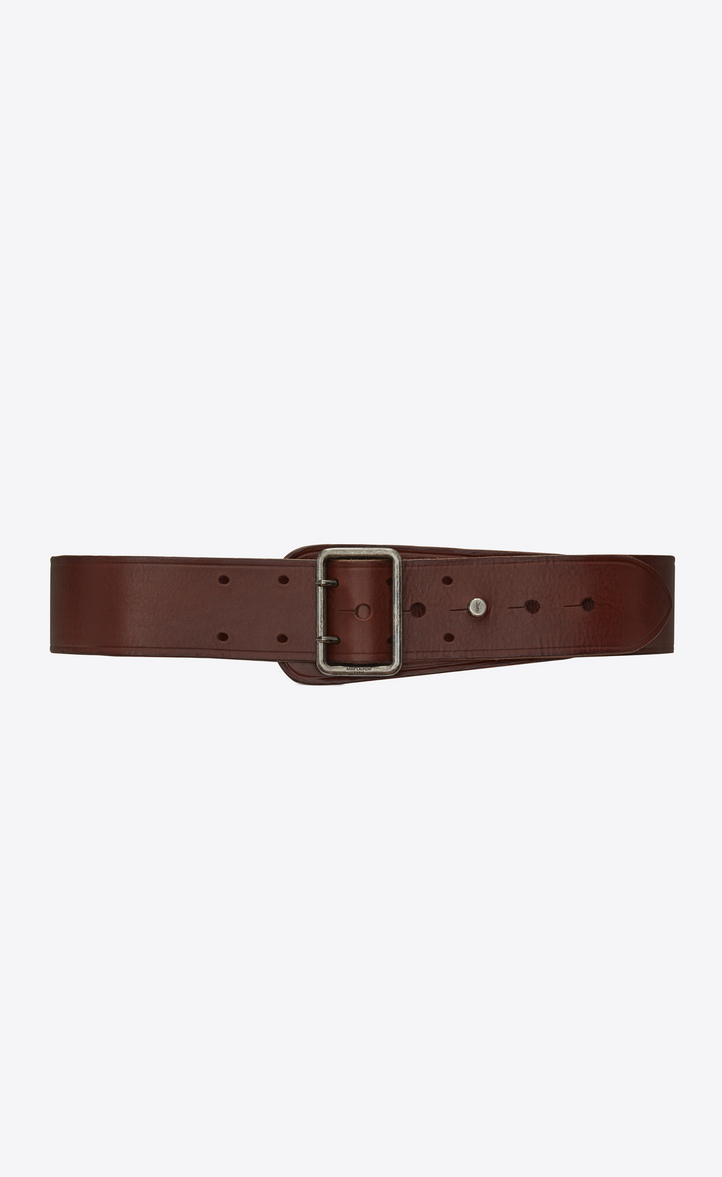 CORSET BELT WITH PORTHOLE BUCKLE IN DARK BROWN LEATHER