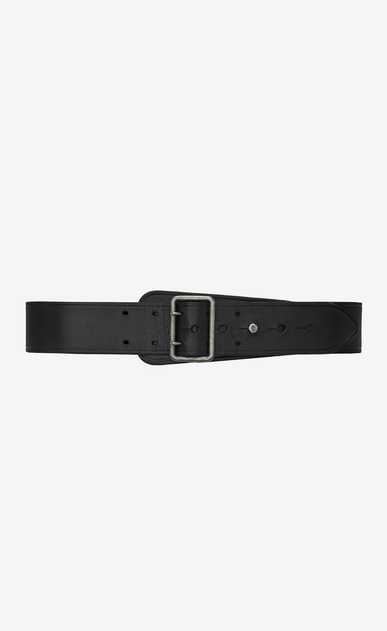 SAINT LAURENT Medium Belt Woman corset belt with porthole buckle in black leather a_V4