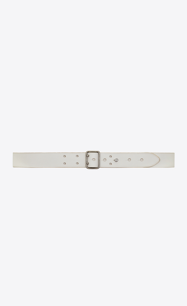 SAINT LAURENT Skinny Belts Woman Belt with PORTHOLE buckle in off-white leather a_V4
