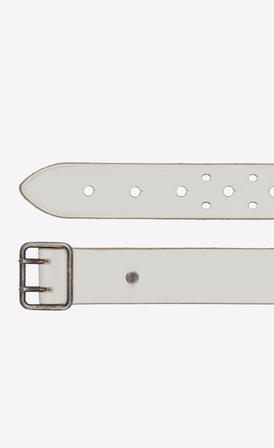 SAINT LAURENT Skinny Belts Woman Belt with PORTHOLE buckle in off-white leather b_V4