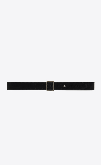 SAINT LAURENT Skinny Belts Woman Belt with PORTHOLE buckle in black suede a_V4