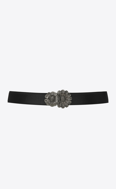 SAINT LAURENT Medium Belt Woman BANDEAU belt with flower buckles in black leather a_V4