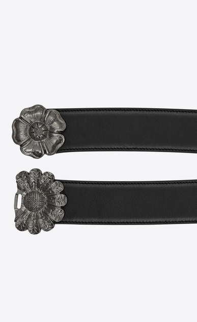SAINT LAURENT Medium Belt Woman BANDEAU belt with flower buckles in black leather b_V4
