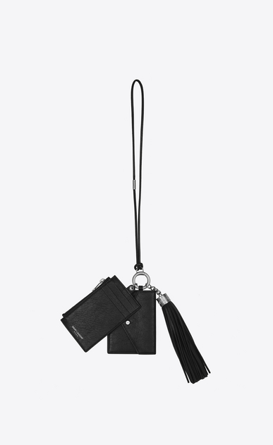 SAINT LAURENT Fragments Small Leather Goods Woman Triple-function key holder in black leather a_V4