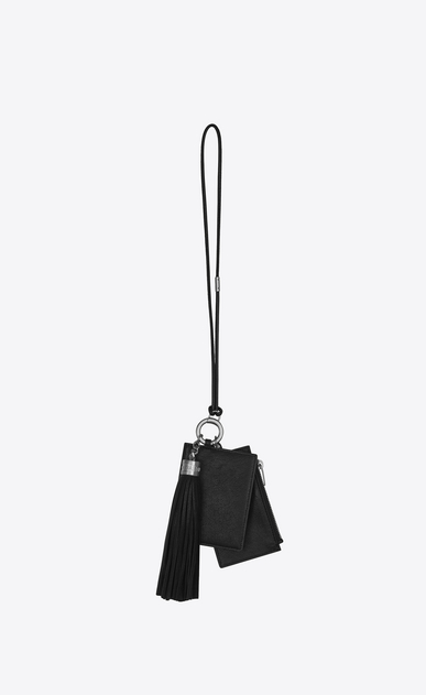 SAINT LAURENT Fragments Small Leather Goods Woman Triple-function key holder in black leather b_V4