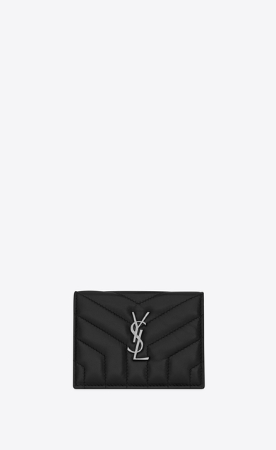 "SAINT LAURENT Loulou SLG Woman loulou card case with flap in matelassé ""y"" leather a_V4"