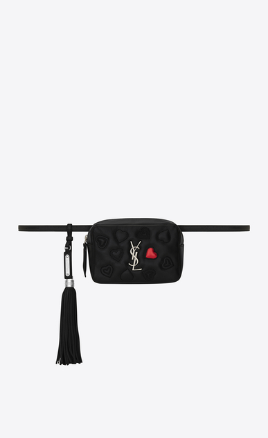 SAINT LAURENT Belt Bags Woman lou belt bag with hearts in black leather a_V4