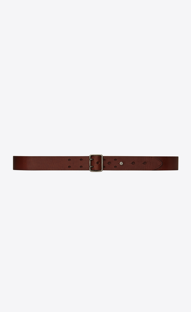 SAINT LAURENT Classic Belts Man Belt with PORTHOLE buckle in dark brown leather a_V4