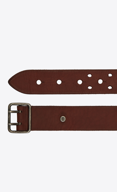 SAINT LAURENT Classic Belts Man Belt with PORTHOLE buckle in dark brown leather b_V4
