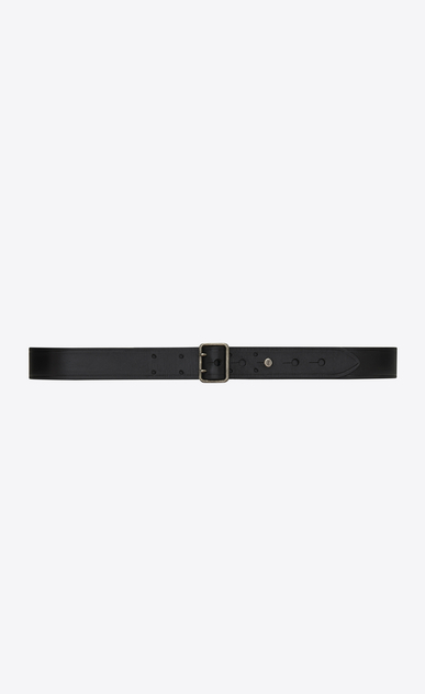 SAINT LAURENT Classic Belts Man Belt with PORTHOLE buckle in black leather a_V4