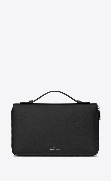 SAINT LAURENT Saint Laurent Paris SLG Man saint laurent paris organizer in black textured leather a_V4