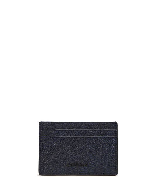 IRIDESCENT GRAINED LEATHER CARD HOLDER - Lanvin