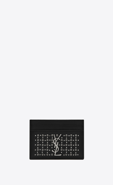 SAINT LAURENT Monogram SLG Woman Monogram card case in leather and eyelets a_V4