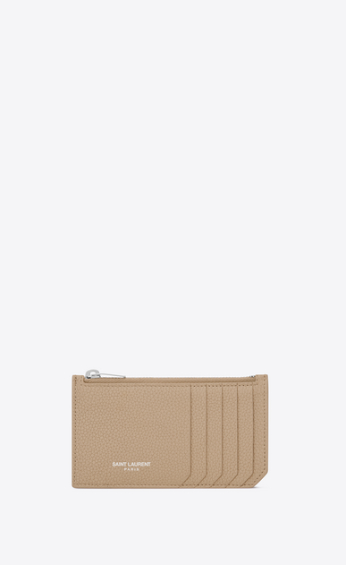SAINT LAURENT Saint Laurent Paris SLG Woman 5 Fragments zippered pouch in dark beige grained leather a_V4