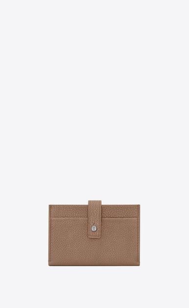 SAINT LAURENT Sac de jour SLG Woman Sac de Jour Souple card holder in dark beige grained leather a_V4