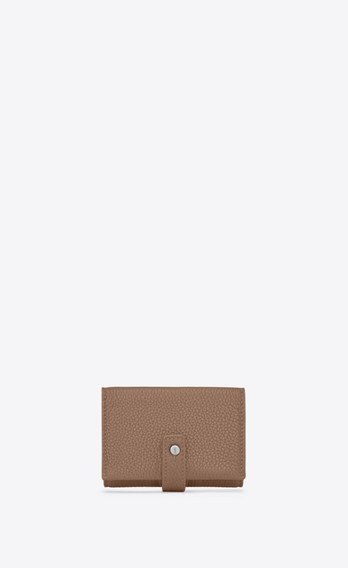 SAINT LAURENT Sac de jour SLG Woman Sac de Jour Souple small wallet in dark beige grained leather a_V4