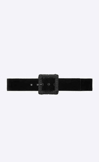 SAINT LAURENT Medium Belt Woman Corset belt in black velvet and passementerie a_V4