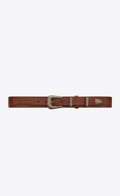 SAINT LAURENT Medium Belt Woman Folk belt in cognac leather a_V4