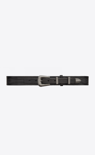 SAINT LAURENT Medium Belt Woman Folk belt in black vintage leather a_V4