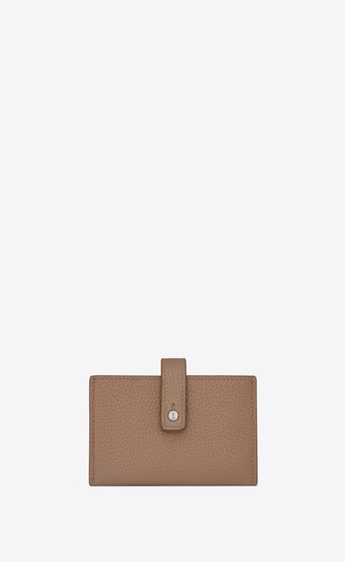 SAINT LAURENT Sac de jour SLG Woman Sac de Jour Souple multiple card holder in dark beige grained leather a_V4