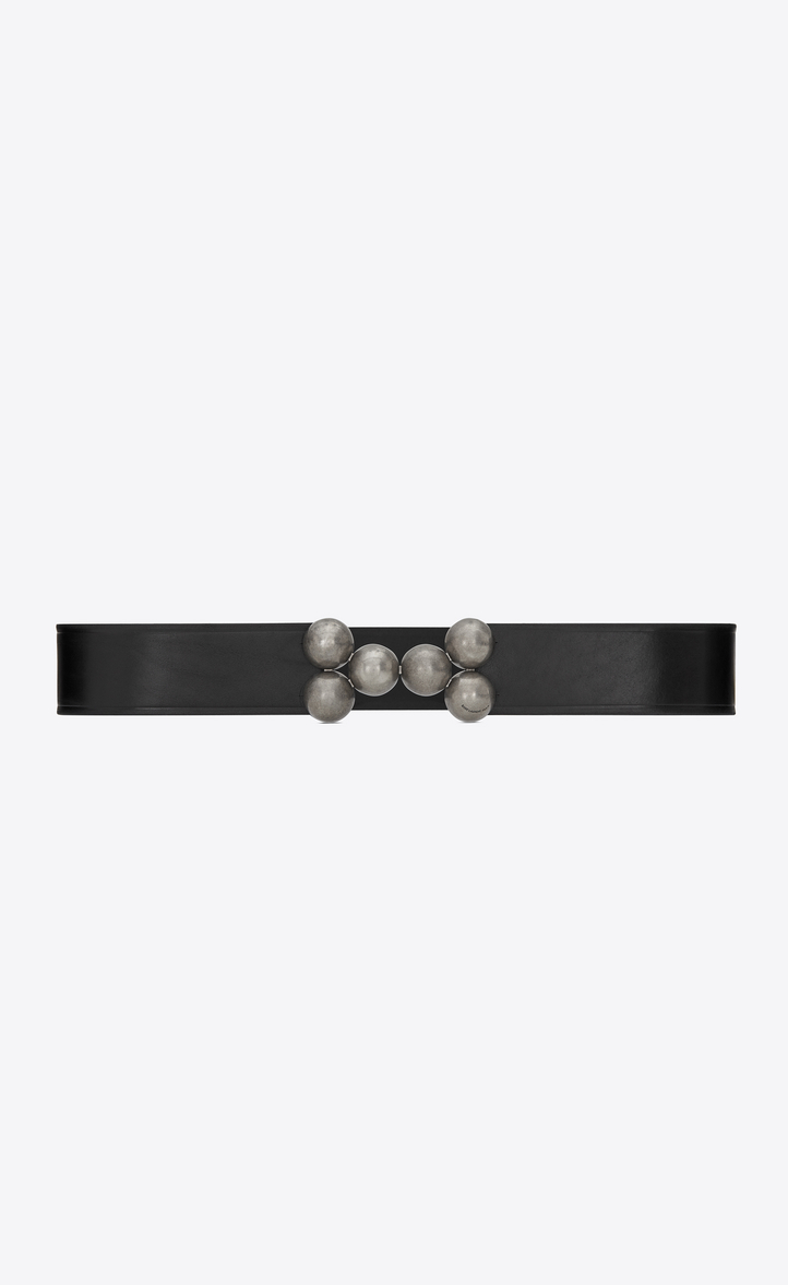 CORSET BELT WITH BEAD BUCKLE IN BLACK LEATHER