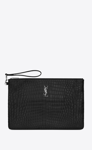 SAINT LAURENT Monogram SLG Woman Saint Laurent monogram document holder in black crocodile-embossed leather a_V4