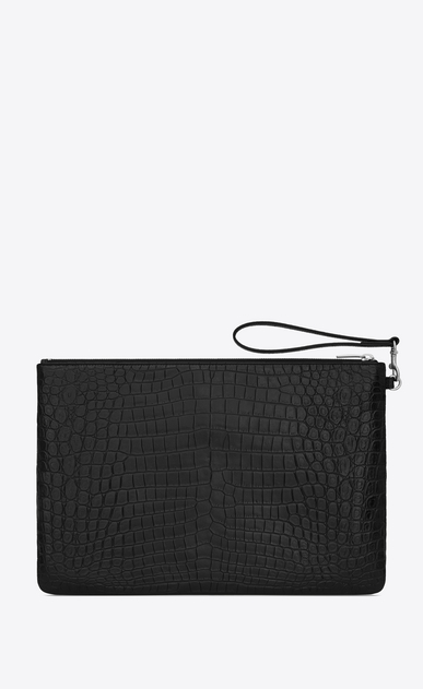 SAINT LAURENT Monogram SLG Woman Saint Laurent monogram document holder in black crocodile-embossed leather b_V4