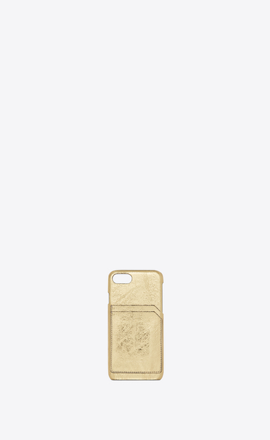 SAINT LAURENT Saint Laurent Paris SLG Femme Etui iPhone 8 en cuir lamé craquelé a_V4