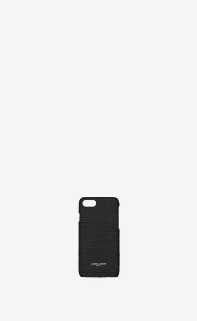 SAINT LAURENT Saint Laurent Paris SLG Femme Etui iPhone 8 en cuir brillant embossé crocodile a_V4