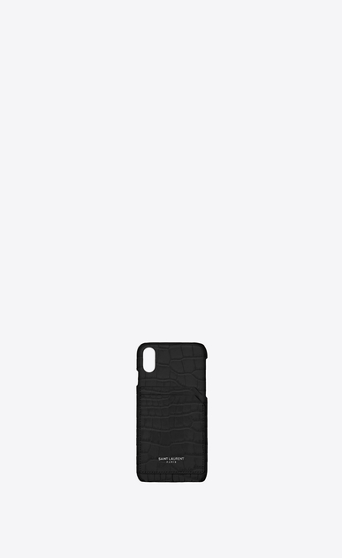 SAINT LAURENT Saint Laurent Paris SLG Femme Coque iPhone 10 en cuir noir brillant embossé façon crocodile a_V4