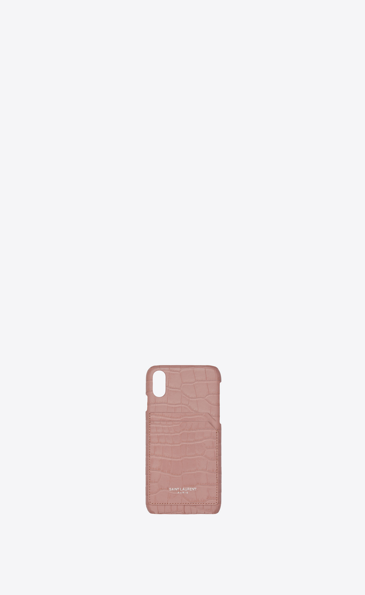 SAINT LAURENT IPHONE 10 CASE IN SHINY TENDER PINK CROCODILE-EMBOSSED LEATHER