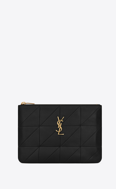 SAINT LAURENT Jamie SLG Woman Jamie pouch in black patchwork leather a_V4