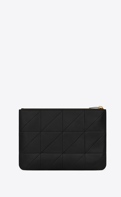 SAINT LAURENT Jamie SLG Woman Jamie pouch in black patchwork leather b_V4