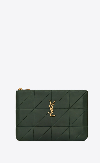SAINT LAURENT Jamie SLG Woman Jamie pouch in dark green patchwork leather a_V4